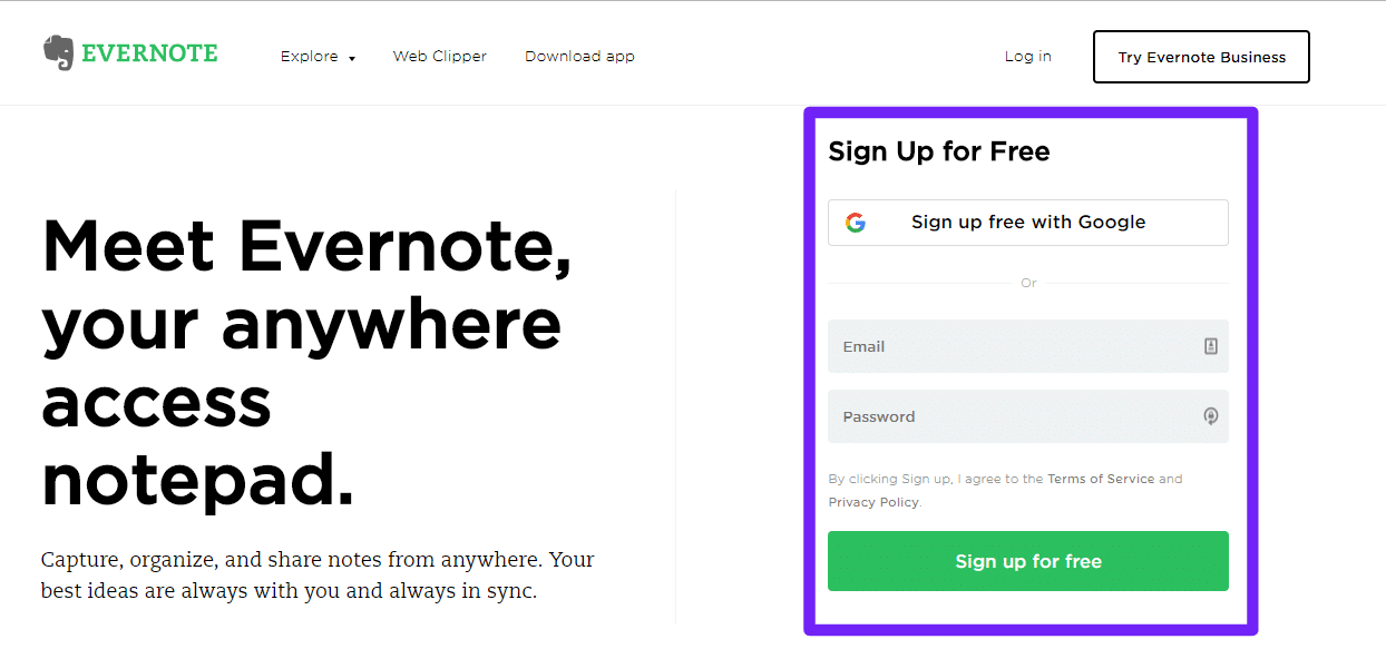 Regístrate en Evernote