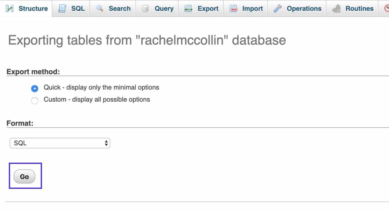 Exportar la tabla de la base de datos