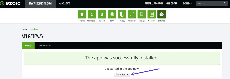 Después de instalar API Gateway, haga clic en