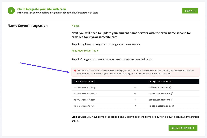 Ignore todas las advertencias de Ezoic relacionadas con las direcciones IP de Cloudflare en los registros DNS.