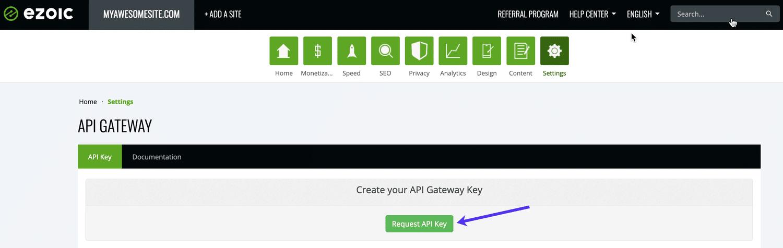 Solicite una clave de API desde Ezoic Dashboard.