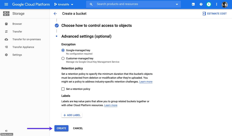 Crea un grupo de Google Cloud Storage.
