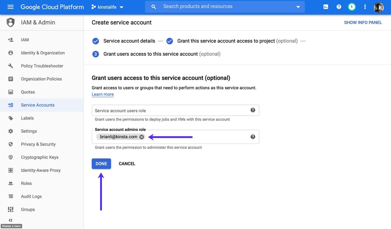 Agregue un usuario administrador a su cuenta de servicio (opcional).