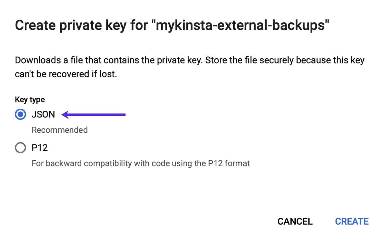 Cree un par de claves JSON para su cuenta de servicio.