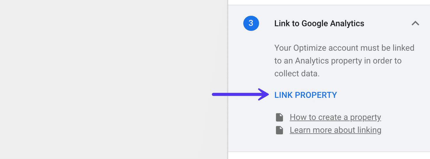 Enlace de la herramienta Google Optimize a los activos de Google Analytics
