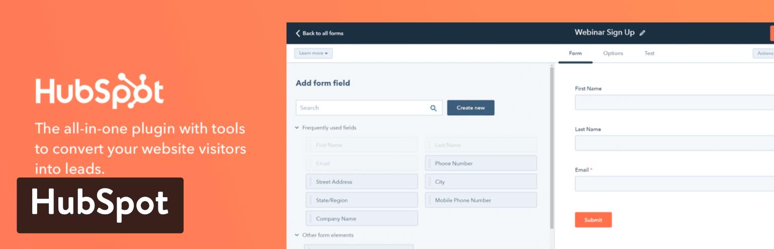 Complemento de WordPress de marketing todo en uno de HubSpot
