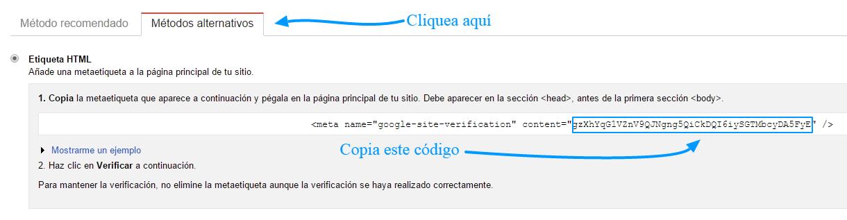 ID de verificación de las Herramientas para webmasters de Google