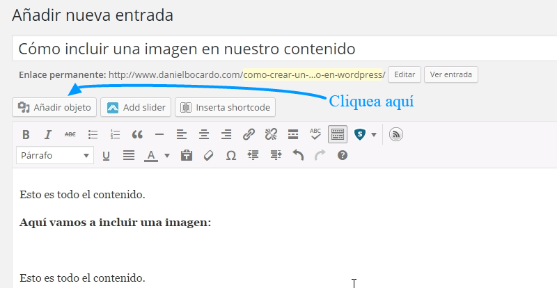 Cómo incrustar imágenes en WordPress