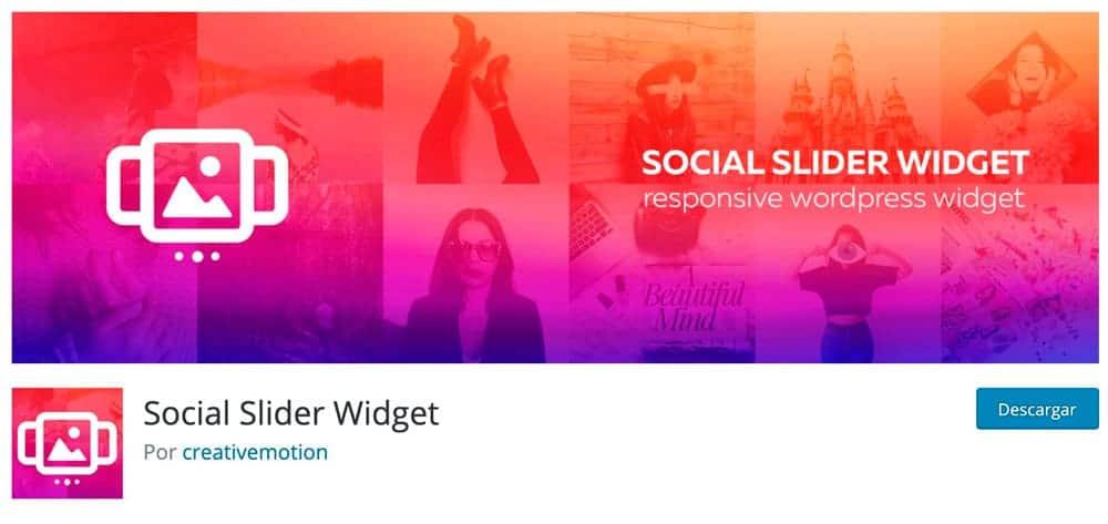 Widget de control deslizante social