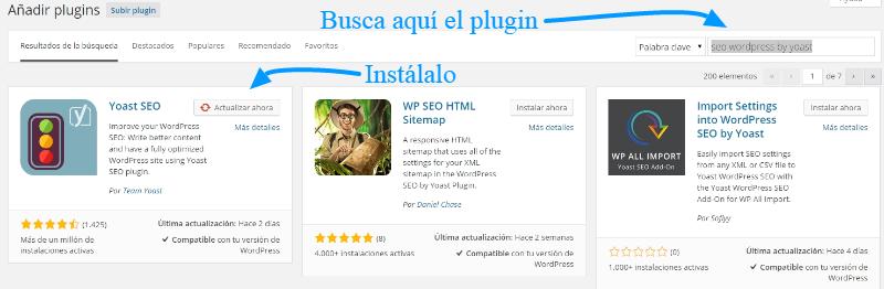 Complemento instalar SEO WordPress de Yoast
