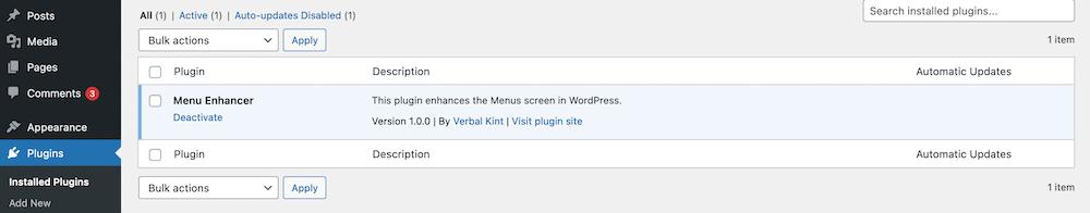 Nuevo complemento instalado para WordPress.