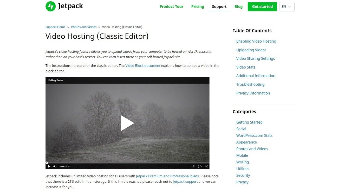 Captura de pantalla de la función de servicio de video de Jetpack.