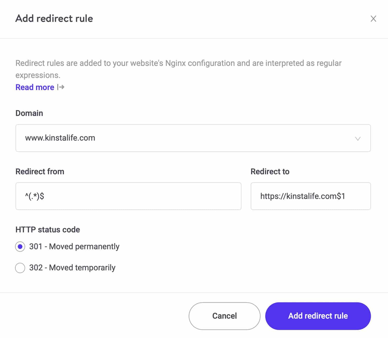 Utilice la redirección 301 para redirigir el tráfico web de MyKinsta.