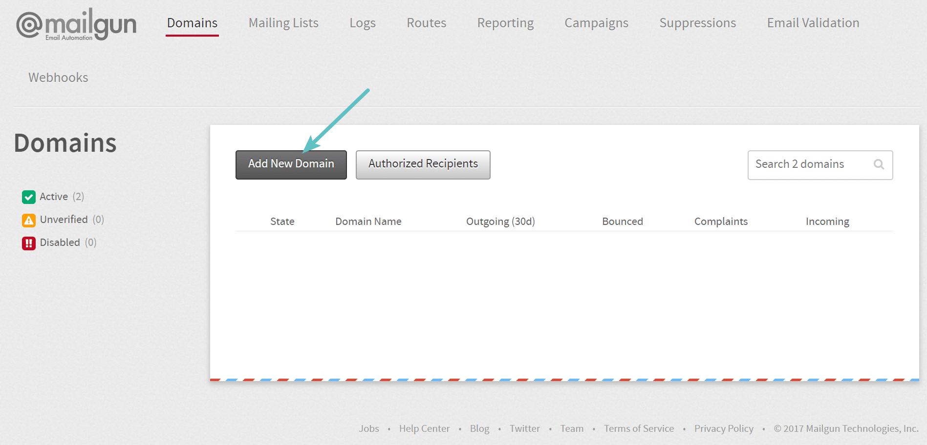 Agrega un nuevo dominio a MailGun