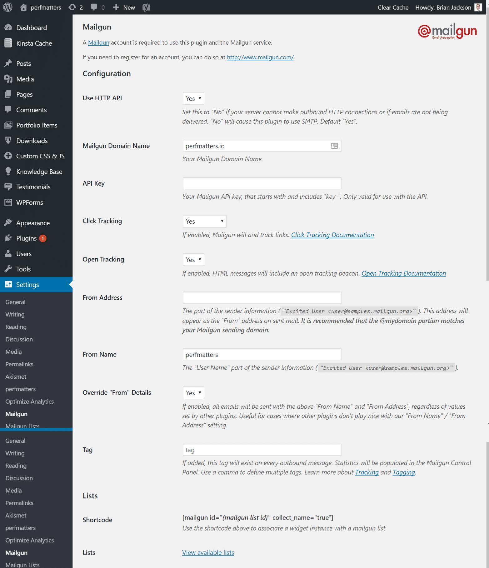 Configuración del complemento Mailgun