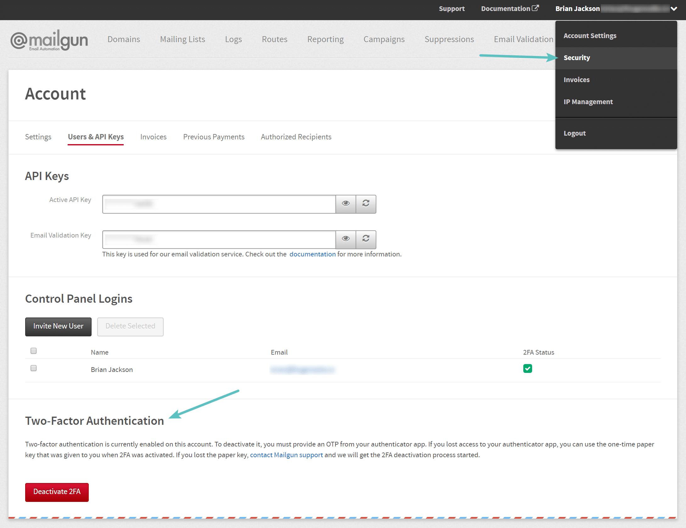 Autenticación de dos pasos de Mailgun