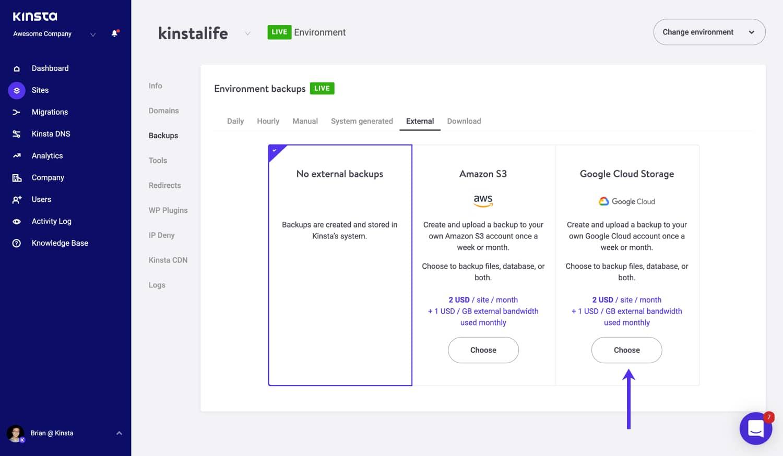 Seleccione la opción Google Cloud Storage para una copia de seguridad externa.