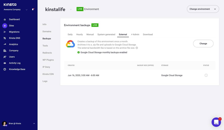 Extensión de copia de seguridad externa para Google Cloud Store.