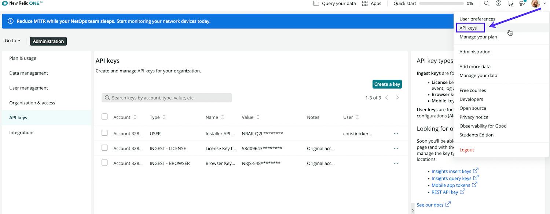 Seleccione la clave API de la lista desplegable de la cuenta.