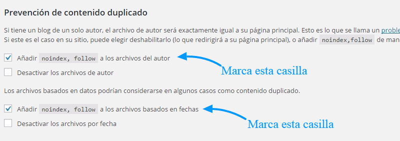 Noindex en la página de fecha y autor de WordPress