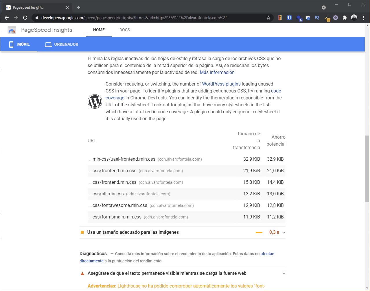 Funciones de PageSpeed Insight