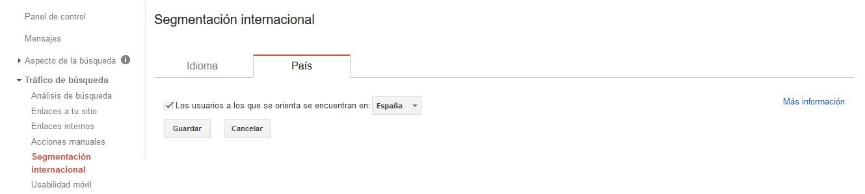 Objetivo de posicionamiento SEO internacional de la consola de búsqueda de Google