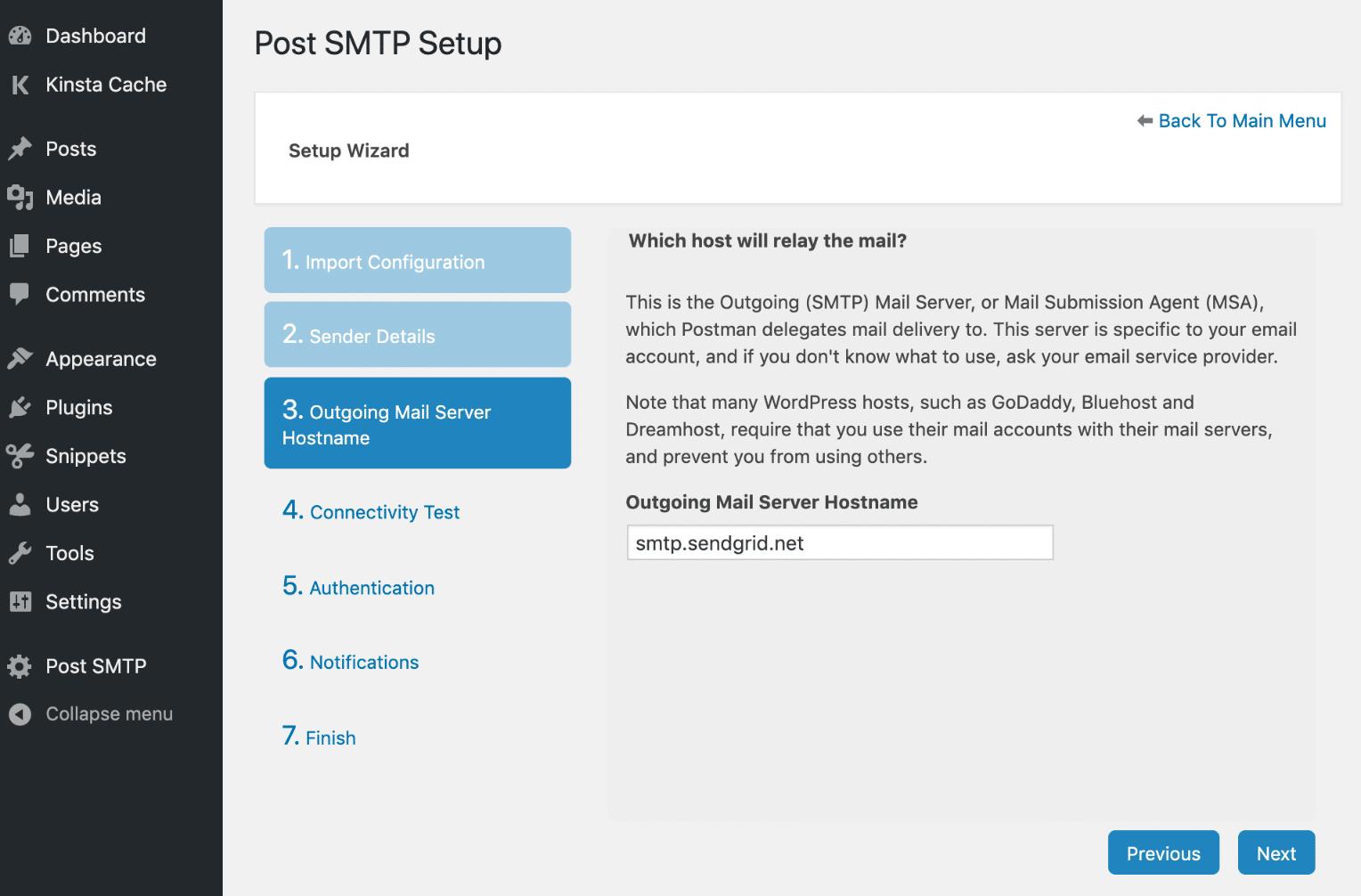 El nombre de host del servidor SMTP para el correo saliente.