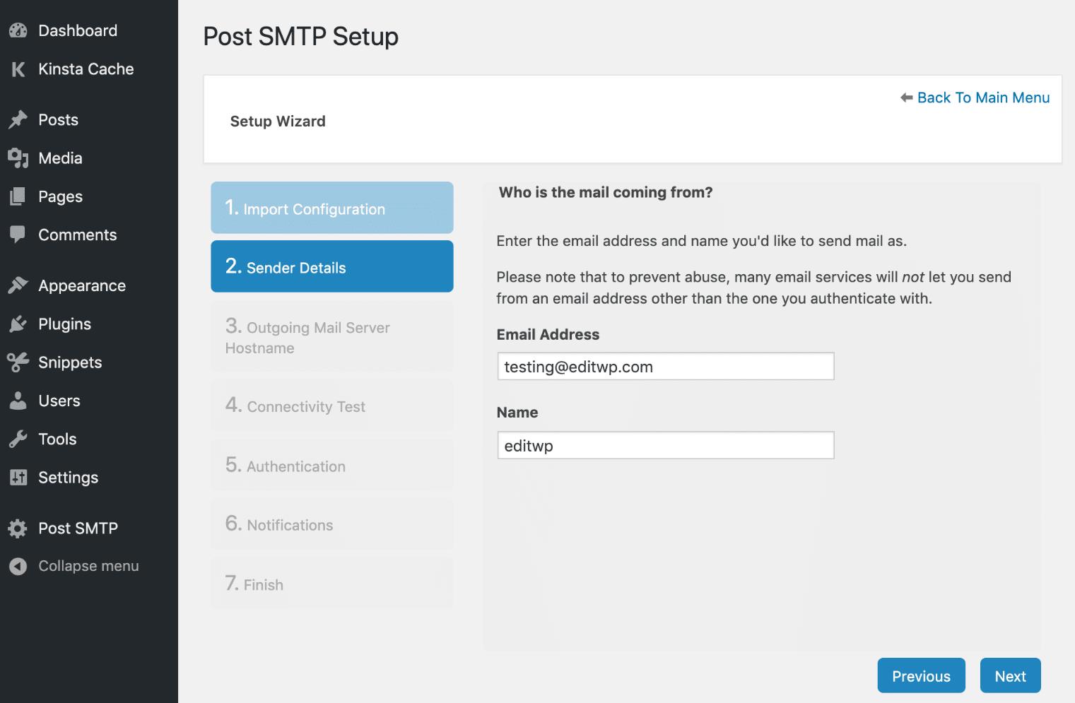Publicar la información del remitente SMTP