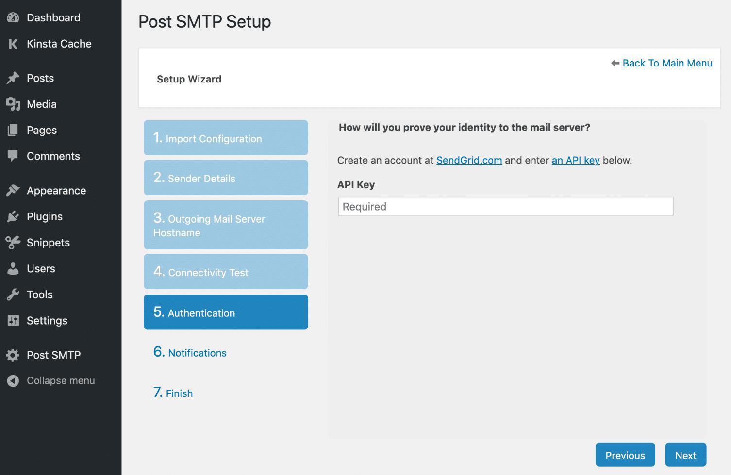 Publicar la clave API de SMTP SendGrid