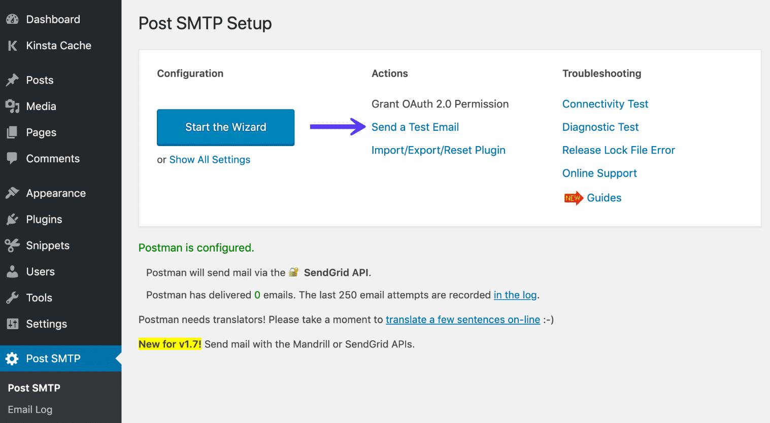 Publica el mensaje de prueba de SMTP