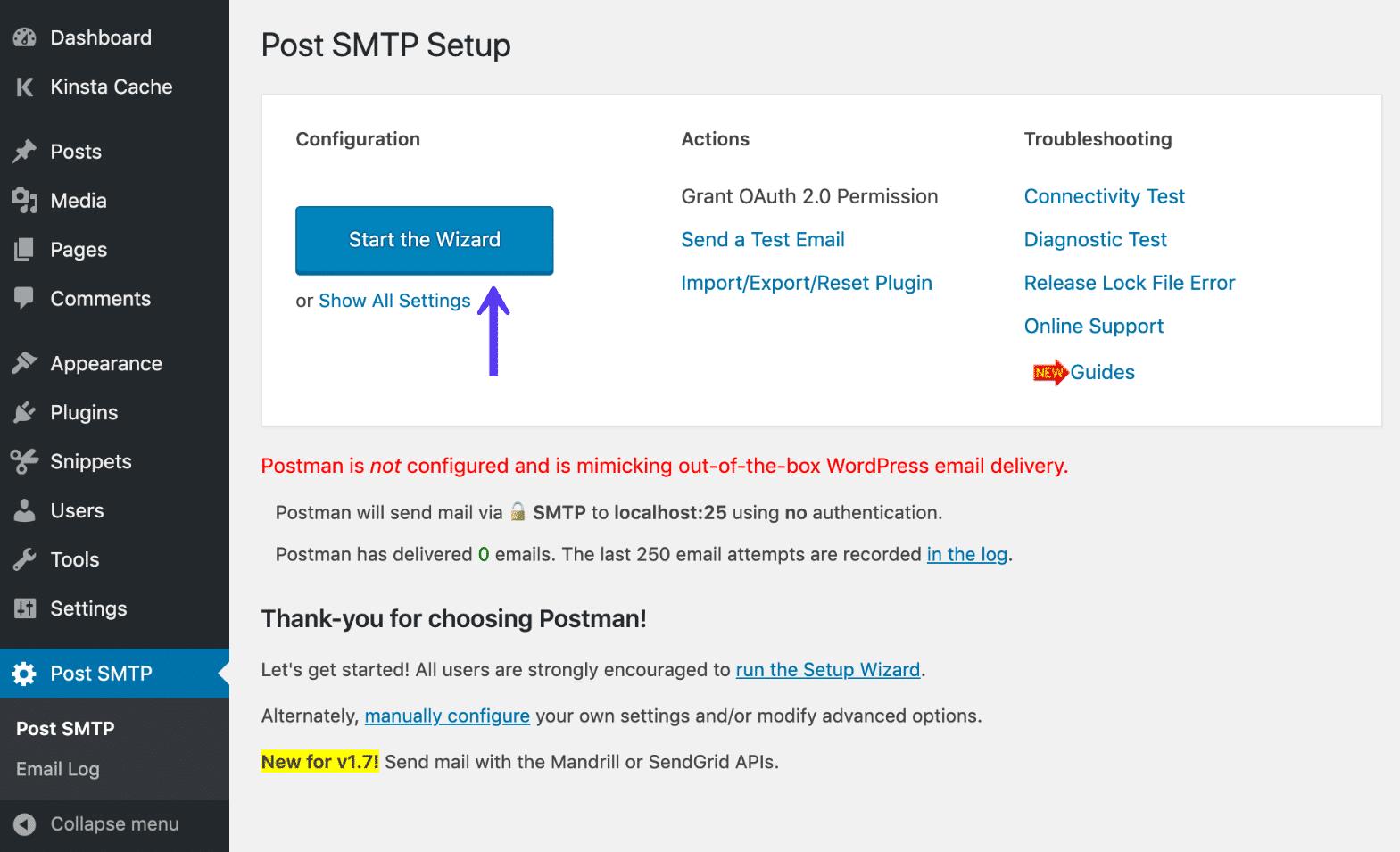 Asistente de publicación SMTP