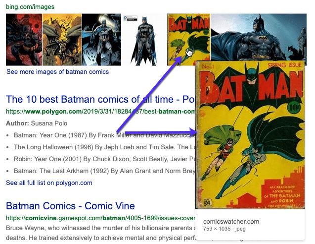 Vista previa de imágenes usando Bing