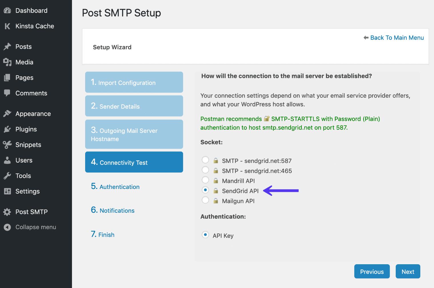 Autenticación de API SendGrid