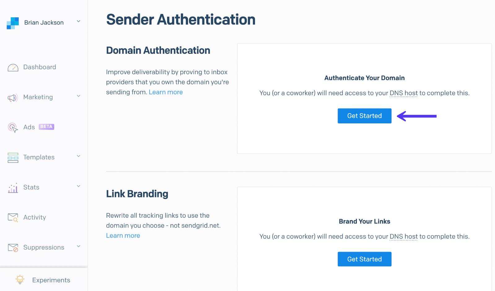 Autenticación de dominio SendGrid