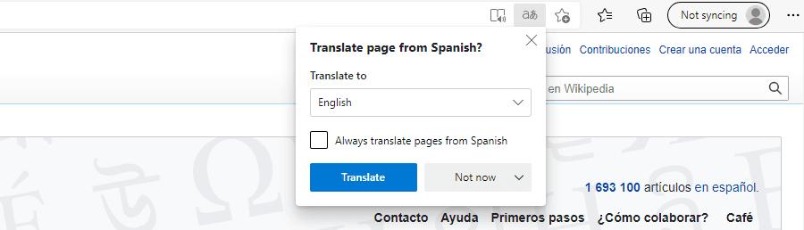 Consejos para las páginas traducidas en Microsoft Edge