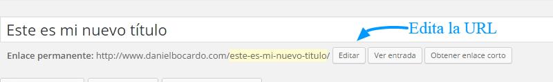La URL es la misma que el título en WordPress