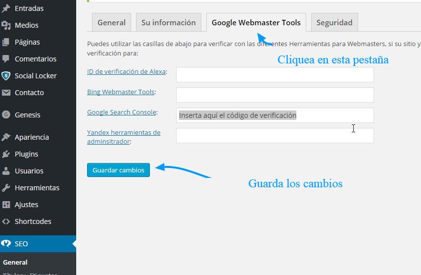 Cómo verificar la propiedad de las Herramientas para webmasters de Google en WordPress