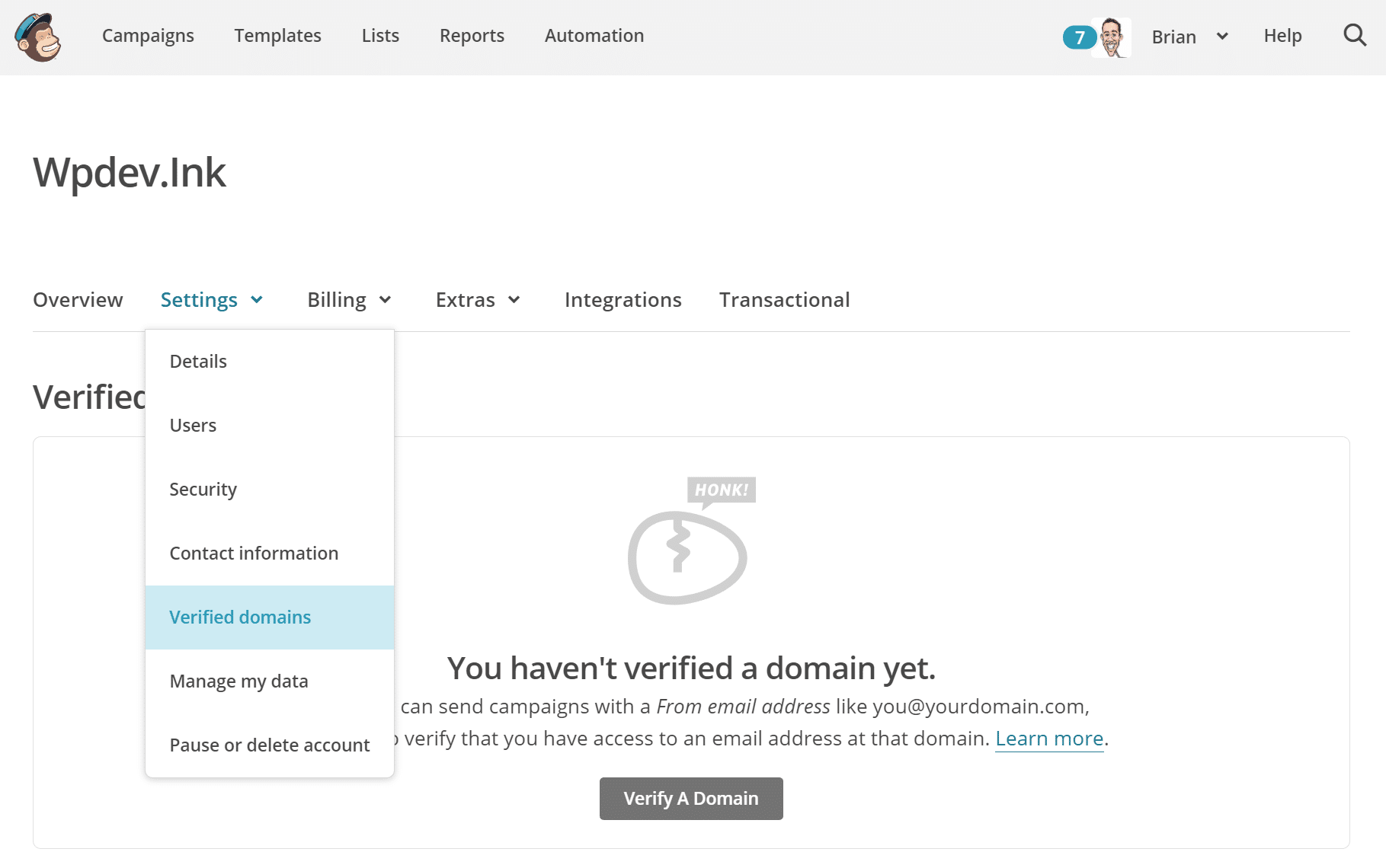 Mailchimp de dominio verificado