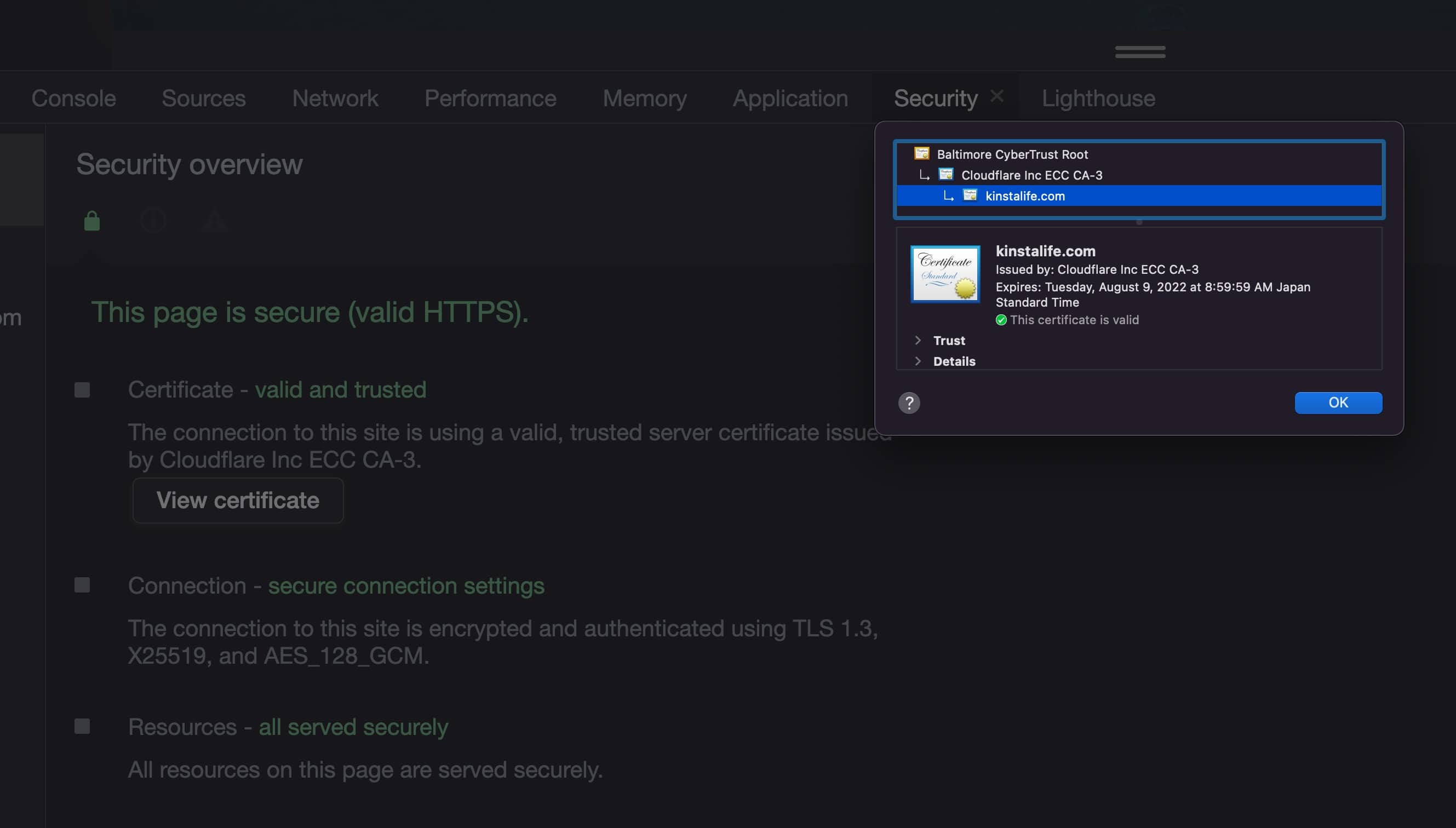 Cloudflare en herramientas de desarrollo SSL Chrome.