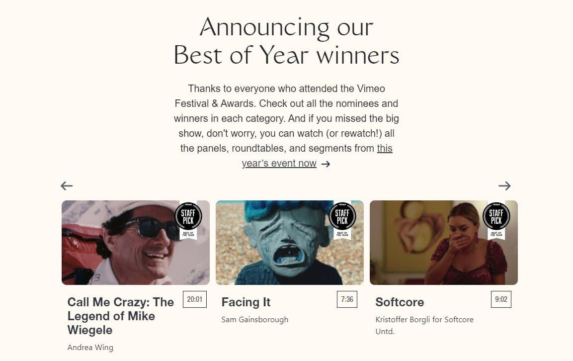 Captura de pantalla de Vimeo Festival & Awards.