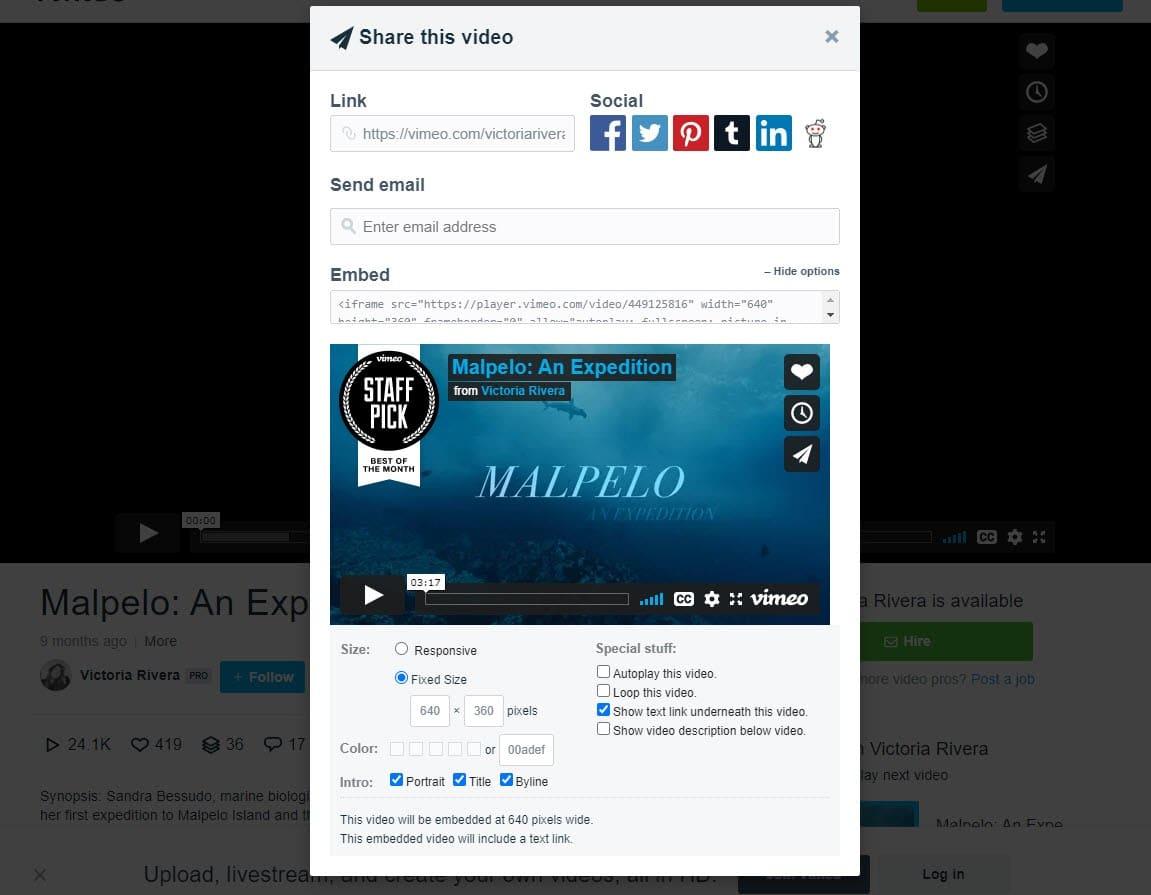 Captura de pantalla de la opción de incrustación de video de Vimeo.