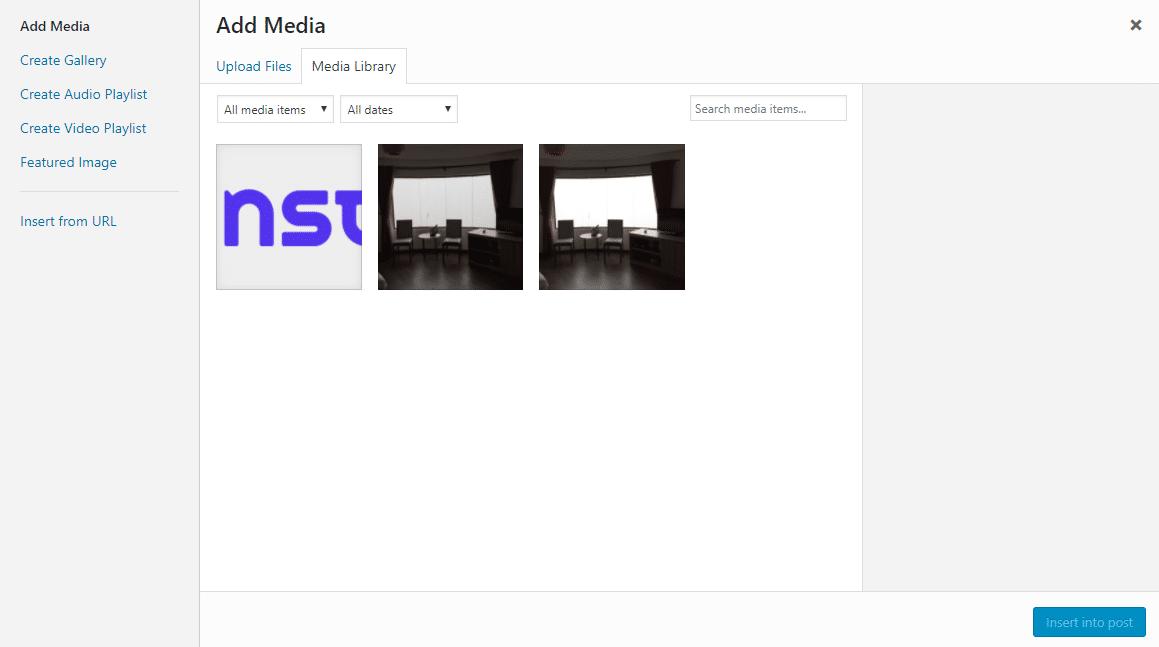 Biblioteca multimedia de WordPress