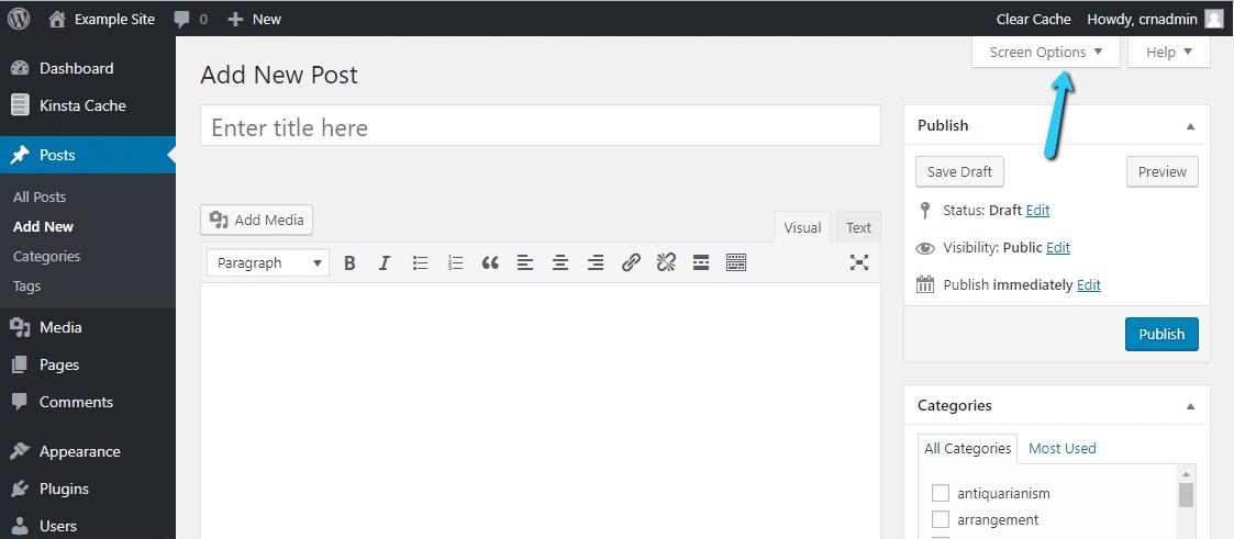Ver el cuadro desplegable del manual de WordPress