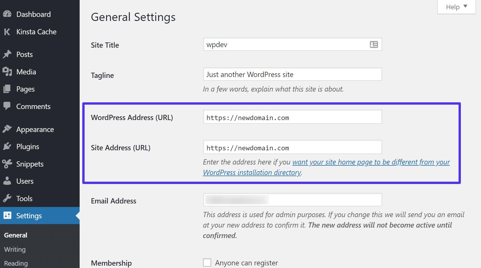 Actualice la URL de WordPress y la URL del sitio.