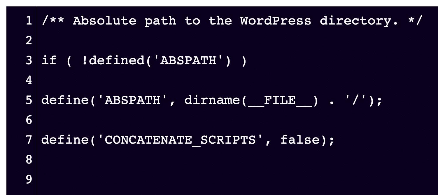 Después de agregarlo al archivo wp-config.php, su fragmento de código se verá así.