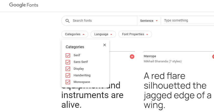 Directorio de fuentes de Google