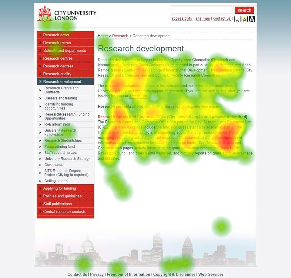 Red de mapas de calor de la Universidad de Londres