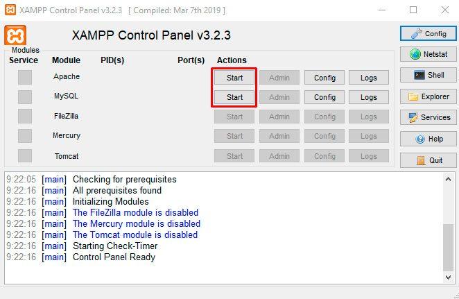 Inicie Apache-and-Mysql-in-Xampp