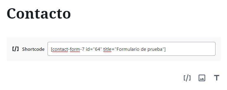 Insertar formulario de contacto
