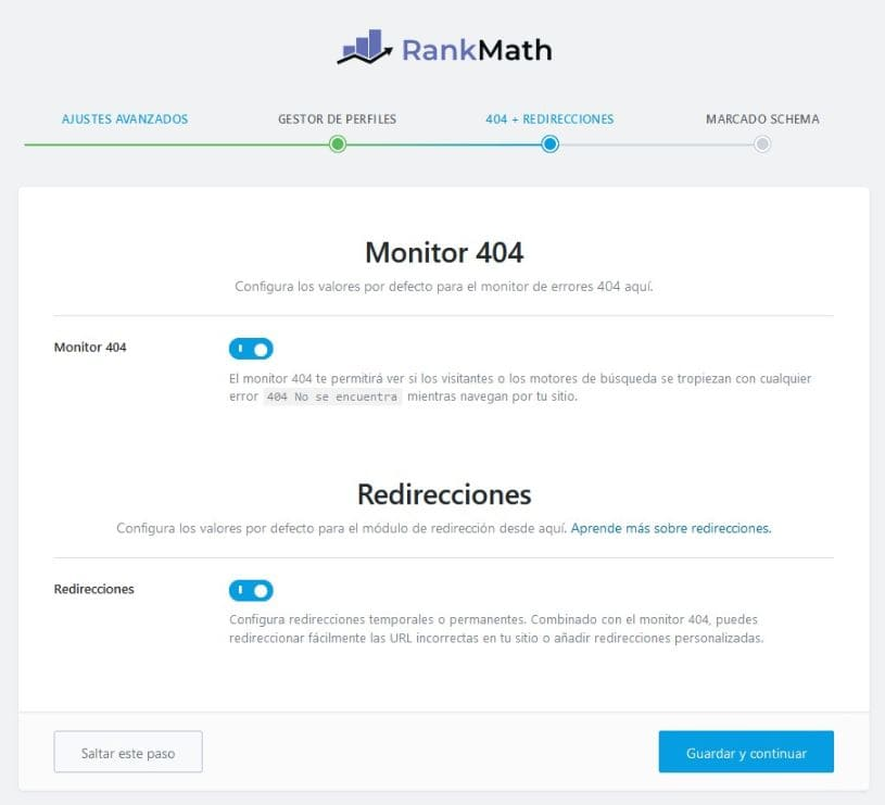 404 redireccionamientos matemáticos de rango